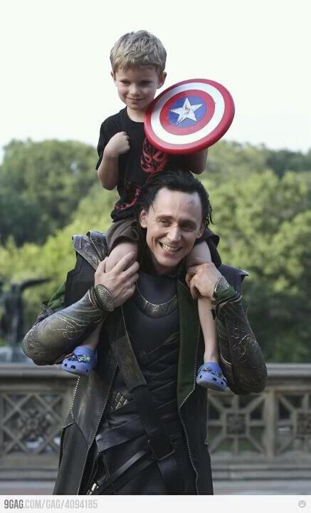 Loki can apparently time travel. Run Captain, run!  P.S. for someone that hates children, I find this mega adorable.