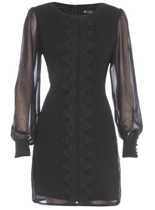 Black Lace Trim Dress by Dorothy PerkinsBlack dress with long sheer sleeves and lace trim to front, by rise machine washable.