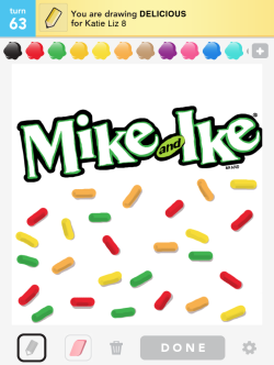 "IKE'S ART DRAW SOMETHING 05.07.12 / by Ike The most important part of my phone is definitely the video camera. I'm all about capturing random scenes and sounds and people. It's like taking notes on what I eventually want to film seriously. When I'm just fooling around, my favorite app of course is Fruit Ninja. It's the perfect outlet for the frustrations of a candy maestro with some fruit baggage! Maybe I'm a little late to the party but when did everyone start playing ""Draw Something""?? I never liked Pictionary that much because it just stressed me out to have people screaming ""garbage truck!"" ""birthday cake!"" ""dentist chair!"" while I'm trying to draw a birdcage. In ""Draw Something"", an app that is great on its own or fun to play with friends through Facebook, there's no time limit so the sketches can be pretty elaborate and artistic talent actually shows. Plus, there's no competitive element except with yourself to amass points for unlocking extra colors to draw with. The more rounds you play with someone, the more you get to know each other's style and get into like a guessing groove. You get serious insights into someone's personality too - whether it's someone you know or even just a stranger you meet through the game. I met ""HickBoyle"" playing last night and he or she drew some hilarious stick figures and some really rad fruit cartoons. Always great to come across another fruit artist. After playing the free version enough, I realize that you end up with a lot of repeat words…you get sick of drawing ""cry baby"" and ""marching band"" over and over. It's worth it to pay to upgrade - you get sooooo many more words. The only bummer is when LOSERS out there looking for a cheap way to earn coins just write the word. I mean, c'mon people! This is a rare chance for straight-up fun. Don't ruin it.~Ike"