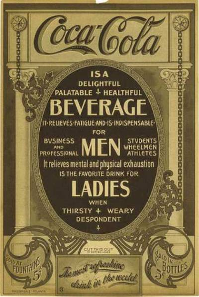 A 1905 Coca-Cola advertisement. I'm guessing that this was before their red and white colours? This seems to be a bit more beige and dark-beige. I wonder when the last time Coca-Cola used the words 'palatable', 'delightful' and 'healthful' in an ad campaign was?