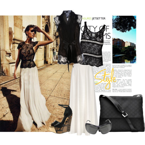 Trip to Italy by queenbeebeverlyhills featuring ankle length skirtsOscar de la Renta lace top, £1,059Erin Kleinberg scoop neck shirt, $59Maison Martin Margiela ankle length skirt, $765ASOS leather sandals, $138Sunglasses, $315Discont Designer Diaper Bags | Gucci Diaper Bags | Queen Bee of…, $795