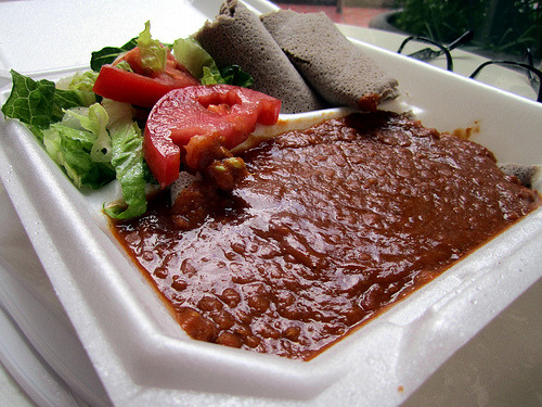 Dish: Miser Kay Wat lunch plate Price: $6 Source: Emame's Ethiopian If you forced me to pick a favorite downtown food cart*, my answer would often be Emame's Ethiopian cart. Now and then, I'll crave a TLT with avocado & Secret Aardvark at D.C. Veg, sweet & spicy delicate eggplant with basil at Ploy Thai, straight up breadsticks & sauce for dippin' at Give Pizza a Chance, or who knows, a stop at Savor Soup House, The Dump Truck or hey, the new Grilled Cheese Grill, but the cart that seizes my lunchtime direction the most is sweet Emame's. For $6, I walk off with a box of saucey, spicy red lentils (my favorite of this dish so far in town), rolls of gluten-free injera - also below the dish, a side of salad, cabbage or collards, and sweet spice on your hands for the rest of the day, reminding you how delicious your lunch was. There are a couple of other vegan options, and bigger combos, but this is what I go for. Every time. *It's imperative to note that I semi-ridiculously exclude the PSU area, and therefore, Homegrown Smoker, from my definition of downtown. That is officially, the PSU area, to me.