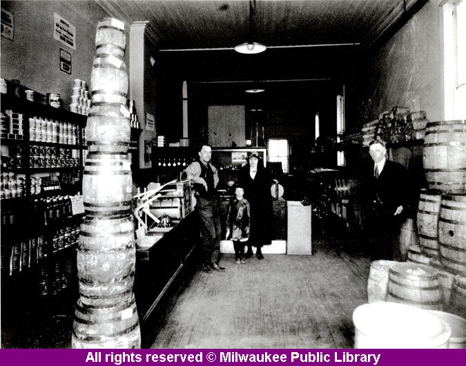 "Beer Suppliers on the Eve of ProhibitionLife got a lot less high for Milwaukee brewers with the start of national Prohibition in 1919. Zahringer Malt Products had stacks of malt that nearly touched the ceiling in 1919. Many Milwaukeeans dealt with Prohibition by trying to brew their own beer at home. The library couldn't keep up with demand for do-it-yourself brewing books.  via: ""Remember When … "" collection, Milwaukee Public Library"