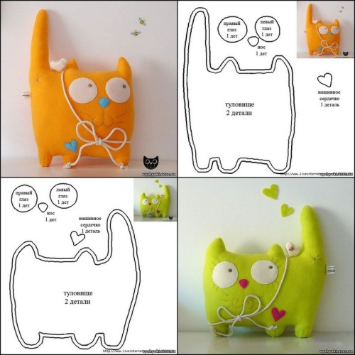 DIY Plush Fleece or Felt Cat. The site is in Russian here, but the diagram is pretty self explanatory.