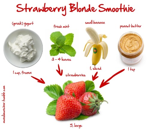 Strawberry Blonde Smoothie recipe! Enjoy it for breakfast! YUMMY! Fitness and Fashion for the perfect prom - Follow PromFit