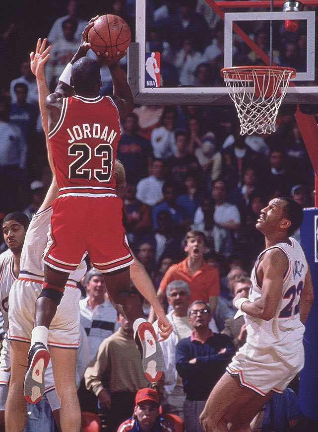 "siphotos:  Today marks the 23rd anniversary of Michael Jordan's famous jumper over Craig Ehlo during the fifth game of the 1989 Eastern Conference First Round. ""The Shot"" is considered one of Jordan's top clutch moments and the reaction of the announcers make it one of the most recognizable plays in NBA history. (Manny Millan/SI)  SI VAULT: Michael Jordan performs wonderous deeds as Bulls beat Cavs (5.15.89)"