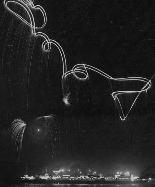 """Hester performing a night flight over Ocean Park, 1920"" (via the San Diego Air & Space Museum Archives)"