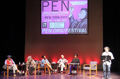 penlive:  Memory in Harlem at the PEN World Voices Festival From left: Marcus Samuelsson, Sonia Sanchez, Tracy K. Smith, Adam Mansbach, Sharifa Rhodes-Pitts, and Etgar Keret (standing).