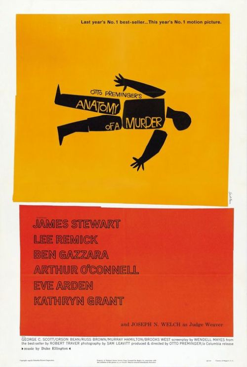 Anatomy of A Murder 1959 Art by Saul Bass Quite simply one of the best.