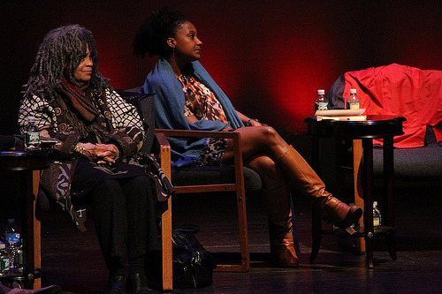 "Sonia Sanchez and Tracy K. Smith on the panel ""Memory in Harlem"" at the PEN World Voices Festival. Photo by Susan Horgan / PEN American Center"