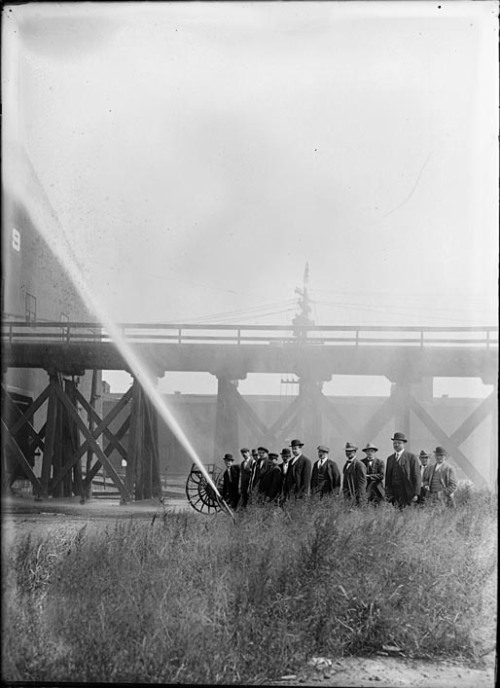 Fire drill, Pier 9Locust Point, Baltimore September 14, 1913John Dubas (fl. 1904-1973)5 x 7 inch glass negativeBaltimore City Life Museum CollectionMaryland Historical SocietyMC9279 .1