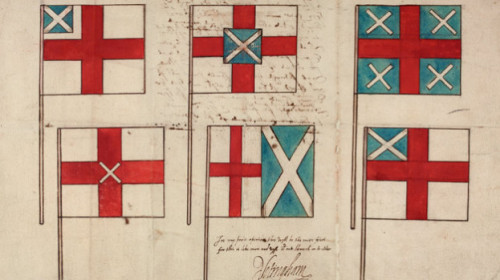"Proposed flag designs for a ""Great Britain"" in the early 1600s, when James became king of both still-independent countries, as covered in BBC Radio 4's The Flag That Failed, part of the Shakespeare's Restless World season. Handily, there's a transcript available:  Looking at our flag designs, you can see the intractable politics of union being played out in graphic form. All the designs stumble on the one key problem facing James's project: how do you combine two kingdoms, but allow each to retain equal status? Crudely put, which national cross gets to be on top, St George or St Andrew's, and does size matter? If you've never seen a Union Jack, it is surprisingly difficult to come up with an even-handed solution to this particular problem.  The programme page has a zoomable image of the designs. As it was, in 1606 a recognisable Union Flag that has evolved into the current design was used, although England and Scotland were not formally joined as a single country until 1707, after the failure of the Darien Scheme (as covered by CP Grey in one of his informative videos)."