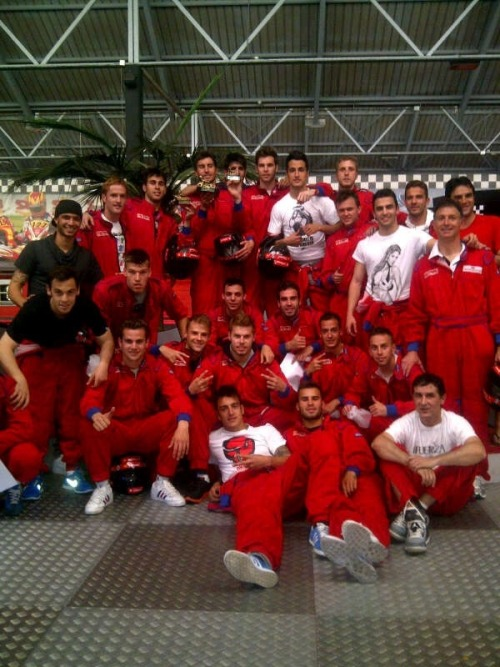 Castilla's karting day; the winner is Pedro Mosquera then Tomas Mejias (runner-up) and Jesús Fernandez (third place).