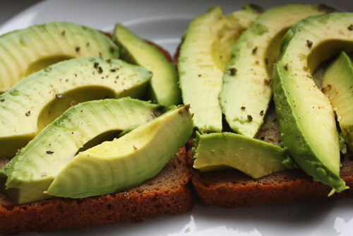 Bread with avocado slices :)