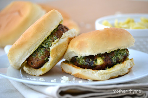 Feta and Basil Turkey Burgers