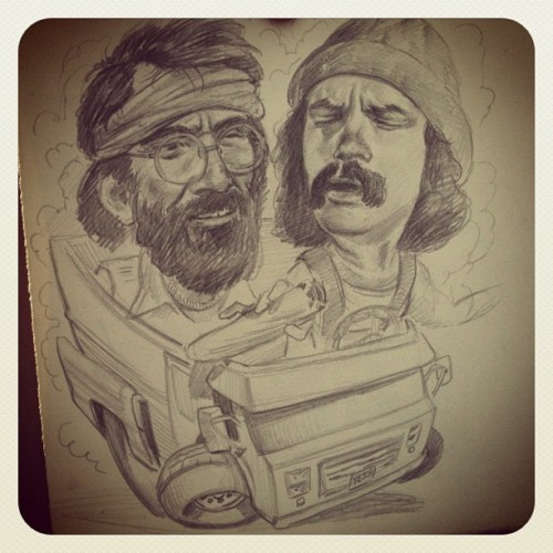 Sketching for a painting for an upcoming groupshow. #Wip #cheech & #Chong #Drawing.  (Taken with Instagram at Parc La Fontaine)
