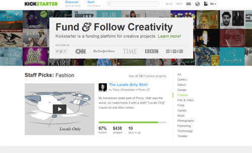Dudes, my Kickstarter is a staff pick!Stats: 7 days in, 10 to go, 87% funded, 2 silk screened posters requested, 13 shirts of my silly skate park drawing set to be printed. Sweet.