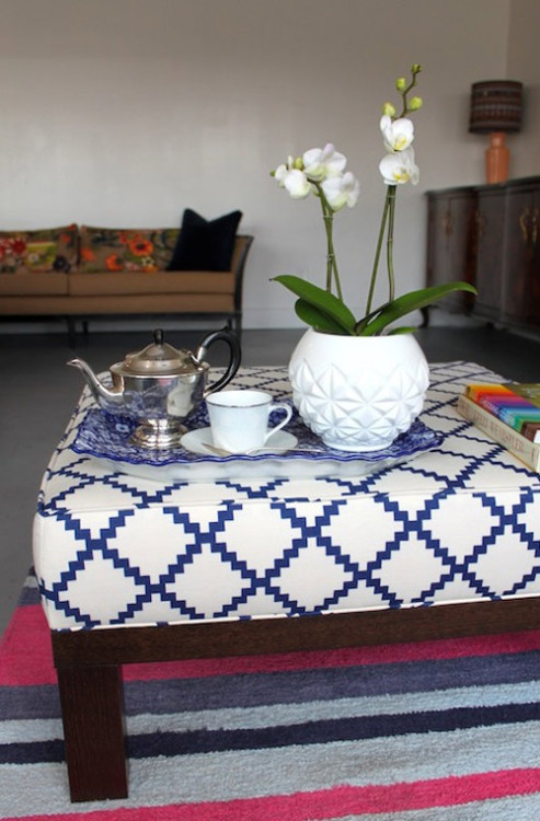 DIY: Ottoman Makeover pretty detailed tutorial, covering all the basics (x)