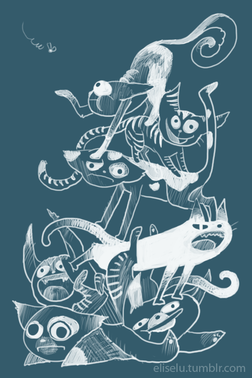 My last picture of my screaming cats got a ton of reblogs and favorites! Thanks to whoever tagged it #illustration…I don't exactly know how tumblr works or why it was chosen, but thank you! And I have well over 60 followers now because of it, so here's some more screaming (and grateful) cats.