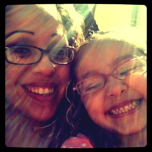 My baby girl & I waiting anxiously to watch The Avengers