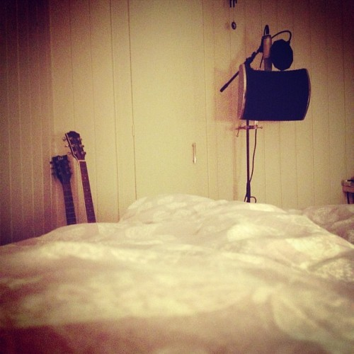 My music corner! #norway #photography #misic #love #guitar #mic #microphone #stuff #two #one #create #something #lol (Taken with instagram)