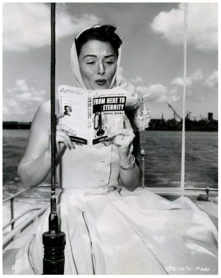 "Read to Eternity. Donna Reed (1921-1986) reading ""From Here to Eternity."" She also starred in the 1953 film adaptation.  With appearances in over 40 films, Reed received the 1953 Academy Award for Best Supporting Actress for her performance as Lorene in the war drama From Here to Eternity."