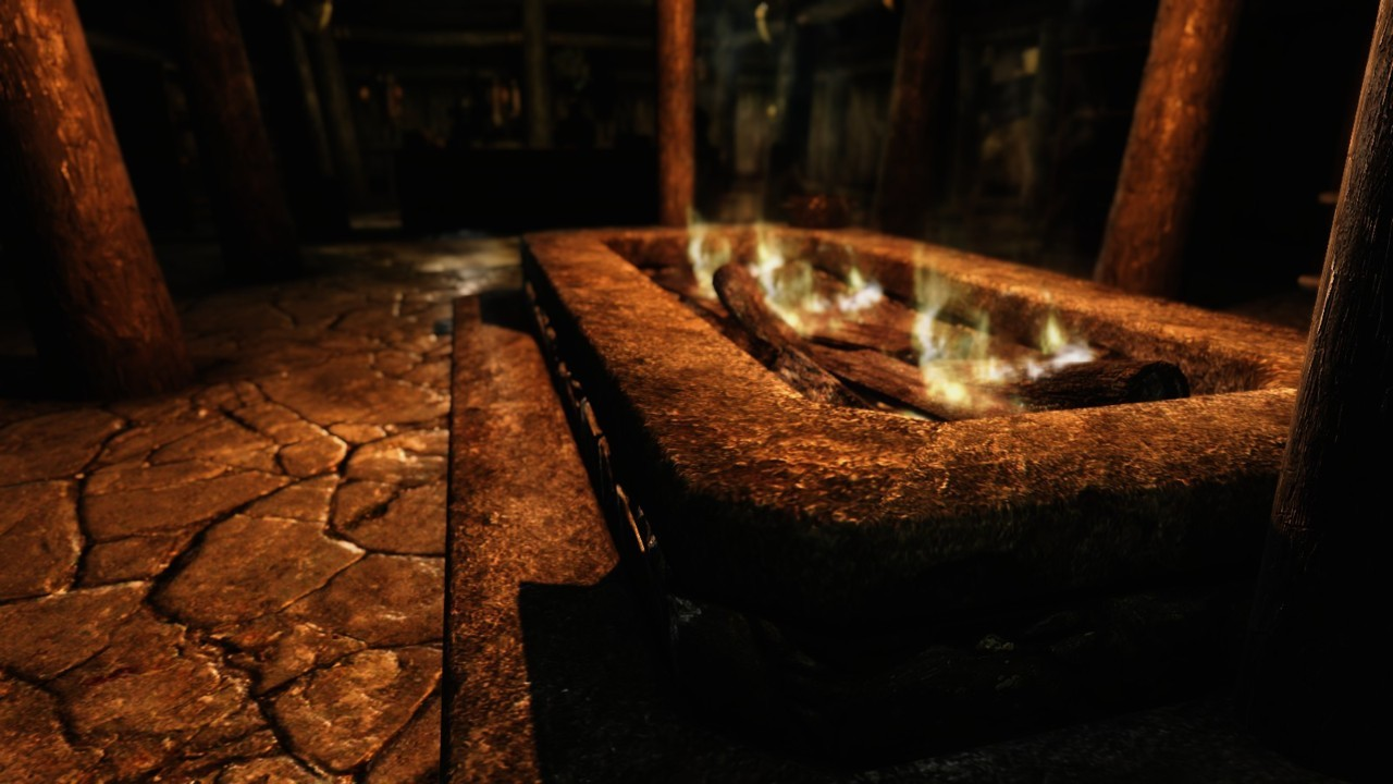 A warm fire in the inn, to keep the cold wastes of Skyrim at bay