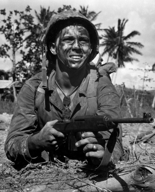 1bohemian:  US Marine with M1 Carbine in Guam, Mariana Islands, 1 Jul 1944