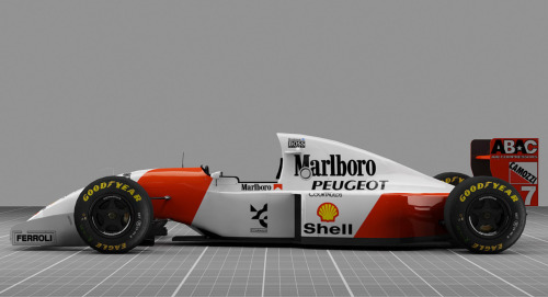 McLaren-Peugeot MP-4/9, 1994. Driven by Mika Hakkinen, Martin Brundle and Philippe Alliot. 4th in the constructor's championship with 42 points. This was the last McLaren Formula One car made without a Mercedes engine.