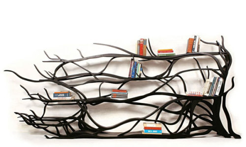 bookporn:  Tree branch bookshelf designed by Sebastian Errazuriz.