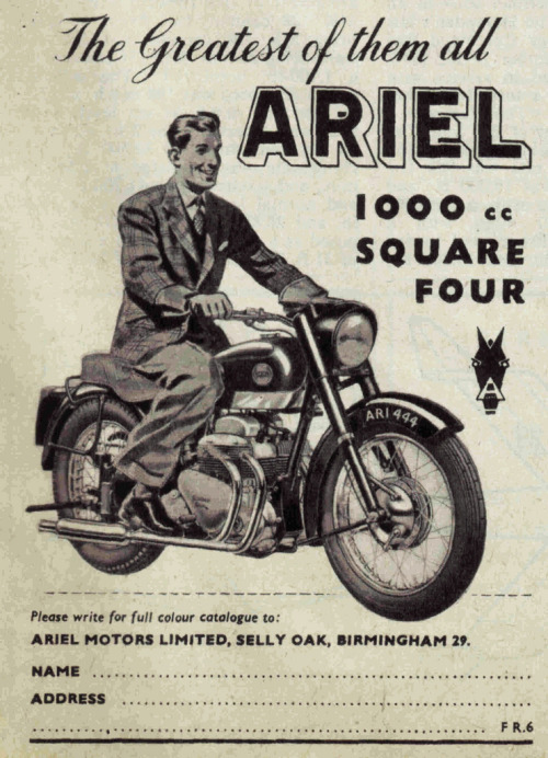 klappersacks:  (via old school paul)  Ariel Square Four