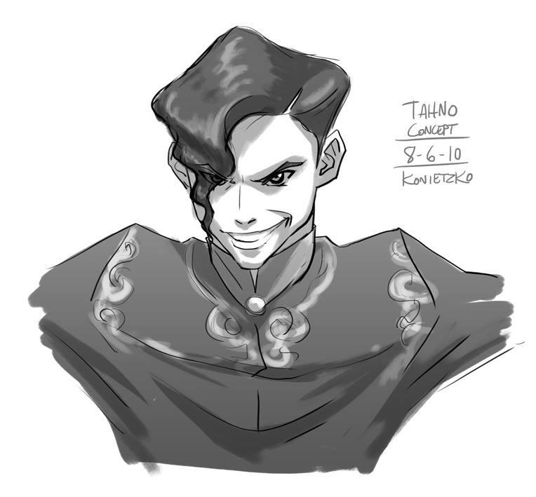 This is the first, quick concept I did of Tahno, the team captain of the Wolf-bats, voiced by the great Rami Malek from HBO's The Pacific. The character was largely inspired by the ridiculously over the top Japanese kickboxer Kizaemon Saiga, whose ridiculous antics include having his cornermen fix his hair with a mirror between rounds in K-1 matches. Ryu whipped up Tahno's character design (which I think Korra Nation released) based on this concept, to which I made some minor tweaks, and there you have the character we love to hate.