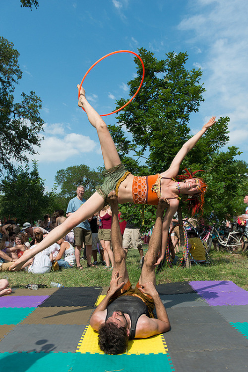 Hooping.org's Photo of the Day: Ciara Blossom and Noah Shipley acro hooping at Eeyore's 49th Birthday Party in Austin, Texas, USA.