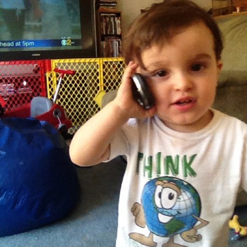 Oh you know. Just talking on the phone 😜 #baby #adorable #phone #talking (Taken with instagram)
