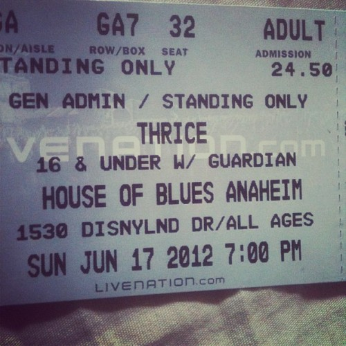 Thrice Ticket #thrice #houseofblues (Taken with instagram)