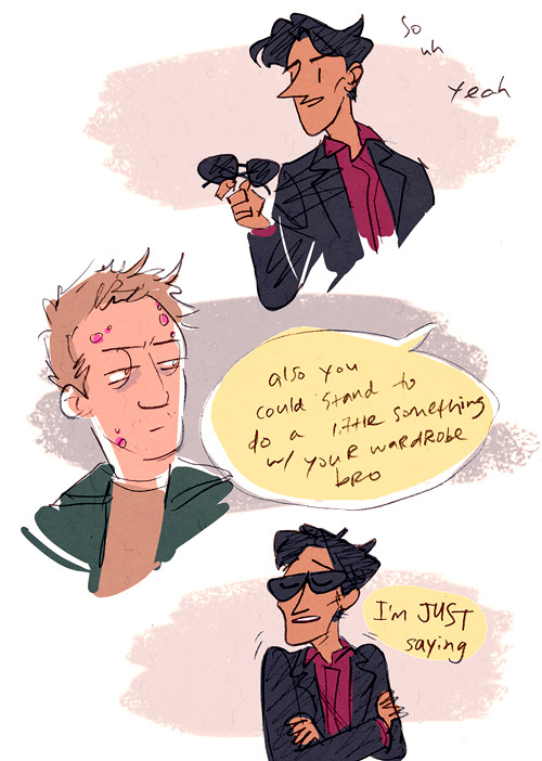 hoursago:  apparently i drew crowley sassing lucifer about…. being the Serpent or something i think. but mostly about taking his hellish fashion choices to their full potential. get it together satan