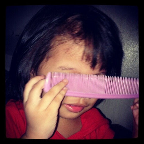 every girl's eyebrow-combing-curiousity moment. (Taken with instagram)