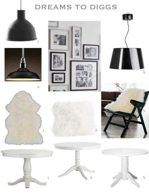 Lamps: 1. Design within Reach $189; 2. Restoration Hardware $199, 3. Ikea $69.99 Sheepskin: 1. Ikea $29.99; 2. West Elm $59; 3. Design within Reach $109 Table: 1. Crate & Barrel $499; 2. Ikea $249; 3. Target $149 Frames - Crate & Barrel