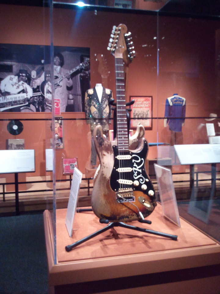 austinafk:  Stevie Ray Vaughan's guitar. The first time it's ever been on display. [Bob Bullock Texas State History Museum]  Bows down…