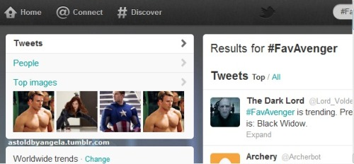 #FavAvenger is trending on Twitter right now. I see you shirtless Captain America.. I see you.