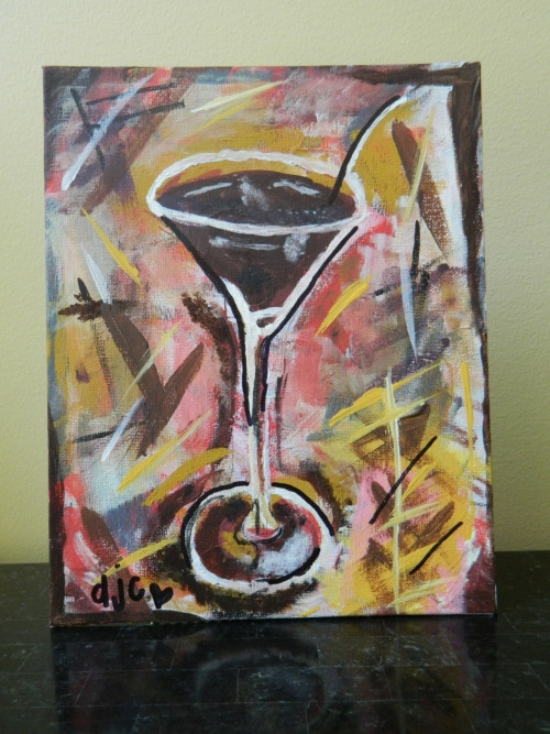 """Funky Martini"" On Sale for $25. Size: 8x10. Arcylic Paint."