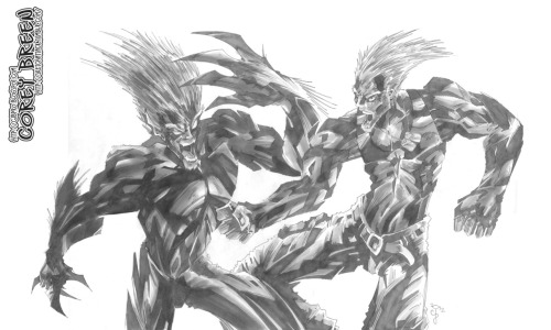 Street Fighter—Blanka vs. Guile by Corey Breen http://cjbpro.blogspot.com