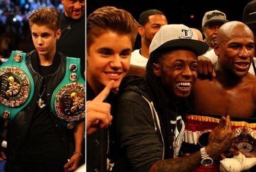 Justin Bieber Joins Floyd Mayweather Jr. in the Ring at Vegas Fight…  Heavyweight pop star Justin Bieber shared a bit of his swag with super welterweight boxing champ Floyd Mayweather Jr. in Vegas Saturday night (May 5).  Biebs, along with rapper 50 Cent and WWE wrestler Triple H, had the honor of escorting Mayweather into the ring before the boxer's highly anticipated fight with Miguel Cotto at Las Vegas' MGM Grand arena. The 18-year-old chart-topper, who carried two of Mayweather's championship belts into the arena before the fight, was also the first to congratulate the 35-year-old boxer after he defeated Cotto. (Read More at Billboard…)
