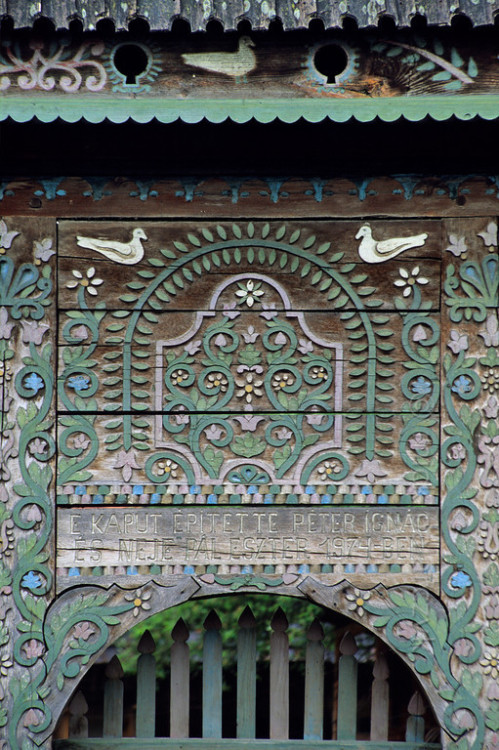 miss-mary-quite-contrary:  Decorated gate with dovecotes on top, Bradesti, Romania.