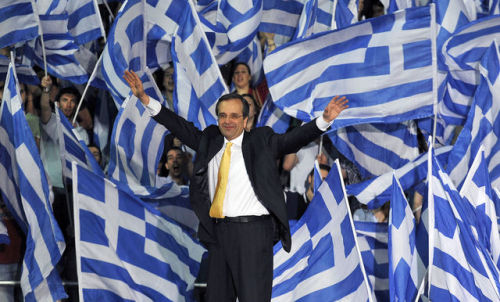 """Greek political leaders will meet for a second day today in a bid to form a government, with the mandate for the task being handed to the second-biggest party after New Democracy leader Antonis Samaras said he failed to forge agreement after an election that raised questions about the country's euro membership.  Samaras gave up his bid after nearly six hours of talks in Athens yesterday. The attempt to form a government will pass to Alexis Tsipras, the head of Syriza, the second biggest party, which has vowed to cancel the bailout terms. Tsipras will see President Karolos Papoulias today at 2 p.m. Athens time."" (via Greek Government Mandate to Pass to Syriza as Samaras Fails - Bloomberg)"