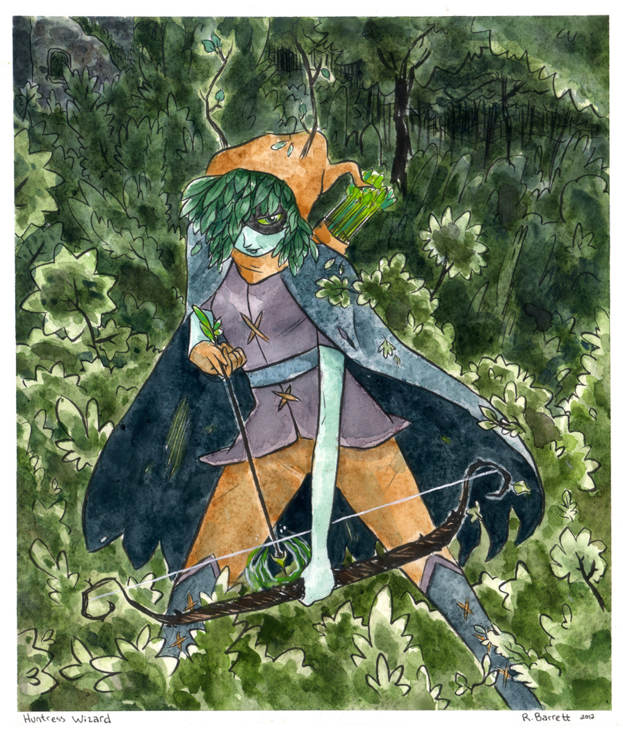 'A watercolor I did of Huntress Wizard from Adventure Time- Wizard Battle!  I love all the different characters from Adventure Time but that flash of Druid lightning set my soul ablaze!' Thanks rbarrett for the submission.