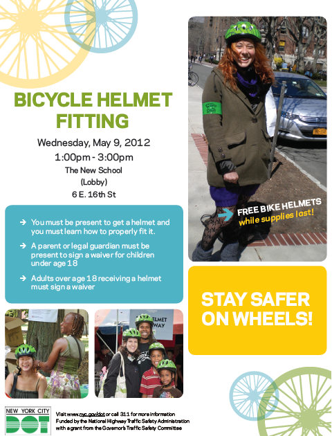 nscycling:  Free DOT Helmet Fittings THIS WEDNESDAY!! 1-3PM at 6 E. 16th St & 3:30-5:30PM at 66 W. 12th St! Good luck with finals & ride safe everyone! :)  Right now!!
