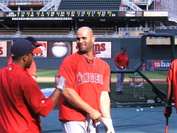 Fresh off his first home run of the season, Albert Pujols gets ready for BP.