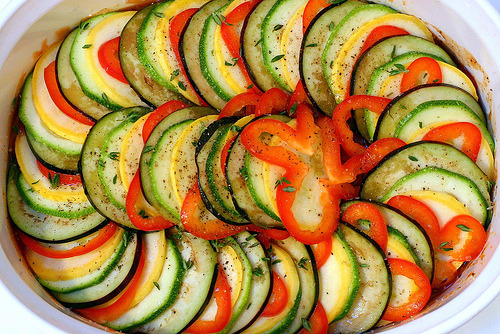Ratatouille Nicoise Ingredients: 1 medium sized onion, chopped 3 cloves garlic, minced 1 medium or large eggplant, diced 1 can stewed tomatoes 2 medium zucchinidiced into large chunks add herbsas desired (try basil) olive oil(enough to sauté onion/garlic) salt and pepperto taste     Directions: Sauté the onion and garlic until tender Add eggplant and tomatoes, bring to simmer Simmer, covered for 15 minutes Add zucchini Simmer for 10-15 more minutes until vegetables are suitably soft Remove from heat Stir in the herbs, season to taste