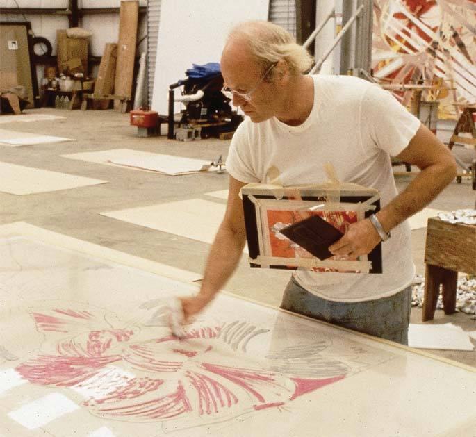 James Rosenquist working on a large-scale lithograph, early 70s. U of South Florida.